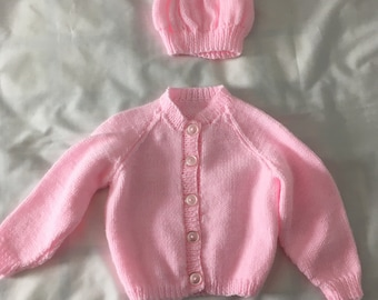 Pink cardigan with hat, size 12 months