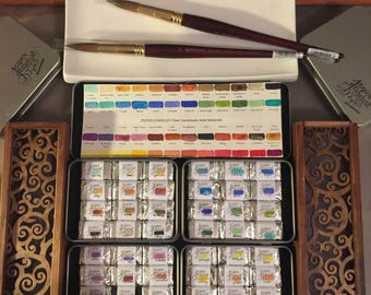 MASTER Arrangement in 48 colors FULL PANS- Artisan Handmade Watercolor paint Set by Jazper Stardust-(limited sets available)