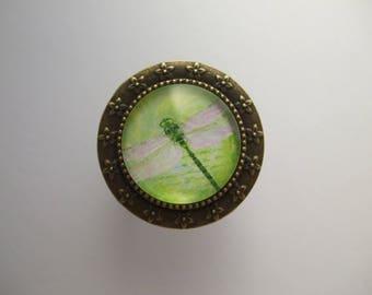 "Ring ""cabochon gem wings fantasy art"" Dragonfly new Green Pink"