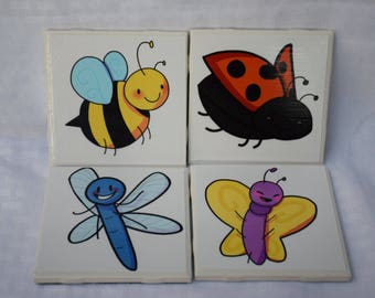 Set of 4 Coasters - Garden Friends (Ladybug, Bumblebee, Butterfly, Dragonfly)
