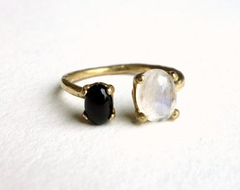 Dual Stone Ring- Moonstone and Onyx