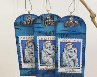 Blue Madonna and Child Tiny Shrine Ornament, Hope Love Joy, Christmas Postage Stamp Art