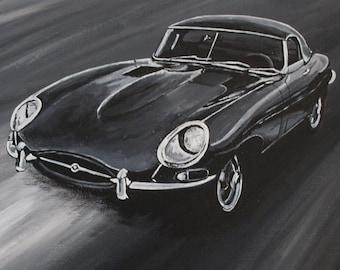 E-type Jaguar - acrylic painting on canvas board