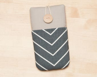 iPhone 8 Plus sleeve / iPhone X case / iPhone 8 cover  / Galaxy S8 case /  - Chevron gunmetal ash