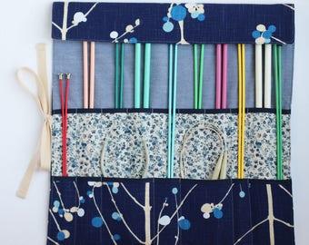 Knitting Needle Organizer, Knitting Needle Case, Knitting Accessory, Vintage Navy Blue by Knotted Nest