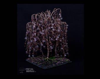 Purple Willow Crystal Bead Tree Sculpture on Slate Base