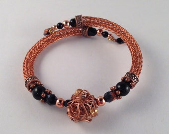 Black & Copper Viking Knit Bangle Bracelet with Handmade Copper Accent Bead Wrap Bracelet OOAK Fits all Sizes Previously 27 Dollars ON SALE