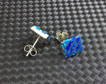 Blue Opal studs earrings, 10 x 12 mm silver studs, Opal earrings, 925 sterling silver opal studs, royal blue earrings, Gemstone Earrings