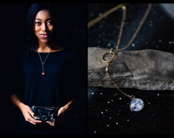 Solar Eclipse / Lunar Eclipse Lariat Y Necklace - 14k Gold / Sterling Silver - Space Science Galaxy Solar System Moon Sun Jewelry Jewellery