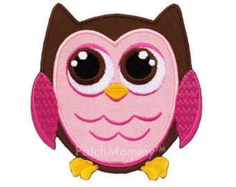 Pink and Brown Owl Iron-On Patch Applique - Kids / Baby