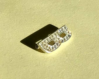 Vintage tiny letter B brooch, rhinestone B brooch, letter B pin, mongram B brooch, initial B brooch, 1980s