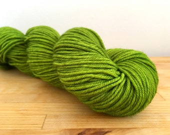 Beetle Wings - Walker DK - merino nylon dk yarn acid lime beetle green tonal semi-solid acid