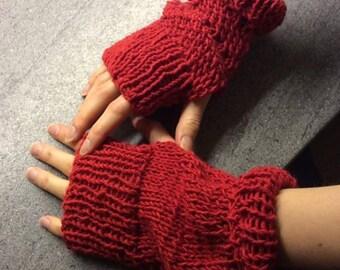 Fingerless Gloves,  Red, Soft DK Wool, Gloves, Soft Cotton Fingerless Gloves, Soft Cotton, Patterned Gloves, Large Gloves