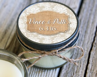 Set of 12 - 4 oz Soy Candle Wedding Favors - Burlap and Lace Label Design - Rustic Bridal Shower Favors, Burlap Bridal Shower Favors