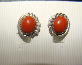 Earrings Vintage Native Sterling Silver and Red Jasper