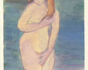 original painting / gouache painting of bather by Michelle Farro