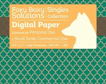 Moroccan Pattern on Kraft Digital Paper - Single Sheet in Teal - Printable Scrapbooking Paper