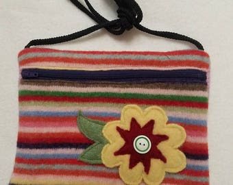 Upcycled Felted Wool Sweater Zippered Hipster Cross-Body Bag Purse Recycled
