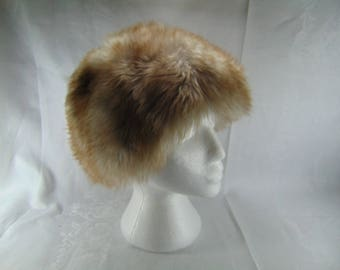 Vintage Grey and Brown Fur Women's Hat