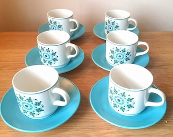 Vintage Cups and Saucers Floral Johnson Brothers Ironstone Retro Tea Cups and Saucers Coffe Cups Blue Pretty Vintage Kitchenware Boxed