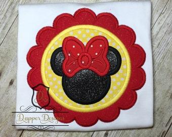 Girl Mouse Scalloped Frame Machine Embroidery Applique Design