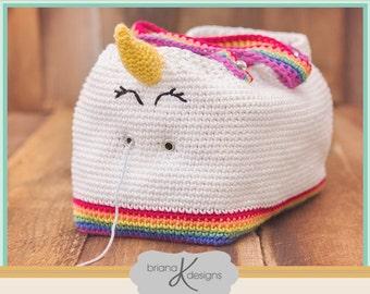 Crochet Pattern Unicorn Farts Project Bag Tote Yarn Bag, Instant Download, Handbag accessory, easy to follow crochet pattern instructions