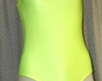 Lime green leotard to fit small girl with full rear,