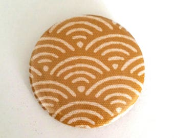 37 mm yellow and white Japanese wave pattern badge, badge