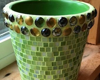 Spring Green Mosaic Planter