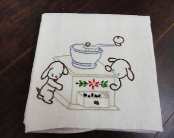 Off White Large Linen Towel With Bears Smelling the Coffee Grinder