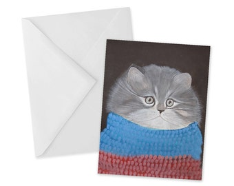 Holiday Kitten in Scarf Card 1pc Cozy Christmas Holiday Greetings