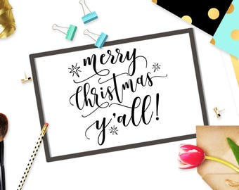 Merry Christmas Yall! svg cut file Cricut svg design Digital stencil Winter svg art Christmas svg cutting file Snowflakes svg DXF eps png