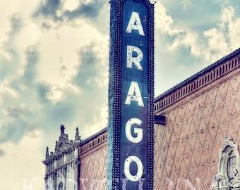 Chicago Photography, Aragon Ballroom, Cityscape Photo, Fine Art Print, Vintage Sign, Uptown Picture, Urban Landscape, Wall Print, Home Decor