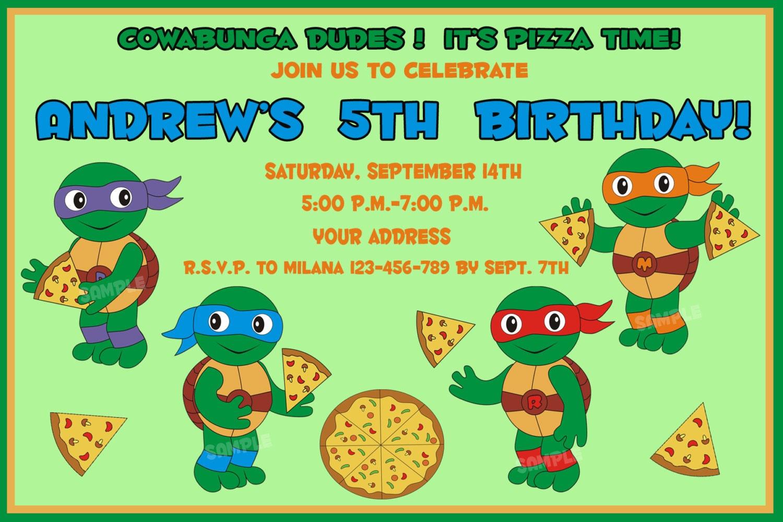 TMNT Birthday Invitation Ninja Turtles Birthday Invitation