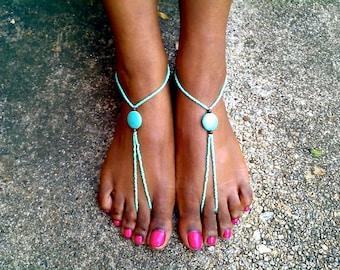 Turquoise Barefoot Sandals, Yoga Sandals, Wedding Barefoot Sandal,Barefoot Beach Sandals, Barefoot wedding Sandals, destination wedding