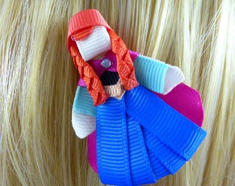 Frozen's Anna  Disney Princess Inspired Ribbon Sculpture Hair Clip ...Hair Accessory ...Hairbow