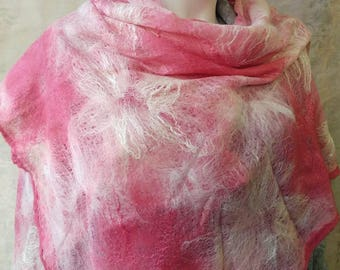 Shawl Felted, felted scarf pink white handmade scarf