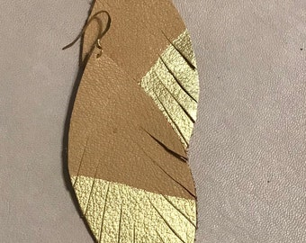 Feather earrings- tan leather-gold dipped-statement earrings-party earrings-bohemian-exotic-