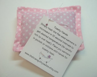 Toasty Hand pocket Warmers Pink Polka Dot