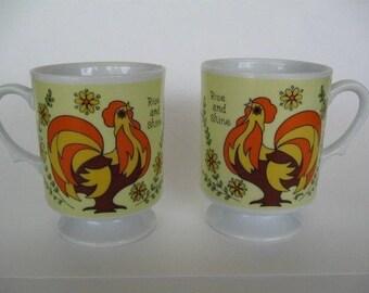 FREE SHIP Set of 2 Vintage Rooster Pedestal Mugs Retro Mid-Century Modern
