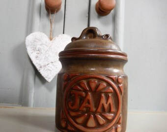 Retro Jam Pot, Studio Pottery, Retro Kitchenalia, Vintage Jam Pot, 1970s, Stoneware Jam Pot, 1970s Studio Pottery Lidded Jam Pot