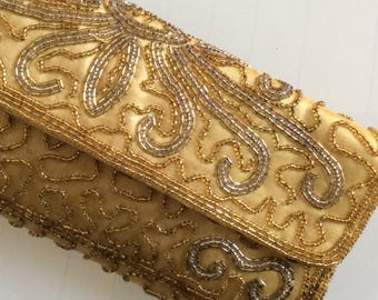 Vintage 1960 Handbag - Bead Embroidered Gold Evening Bag - Small Chic Handbag