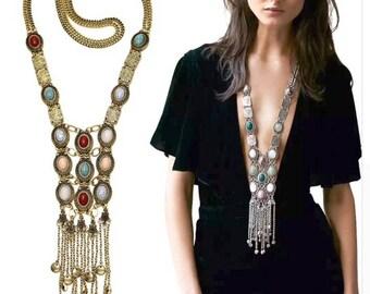 Sale,Turkish vintage long multi color silver necklace/silver and gold necklace tribal necklace