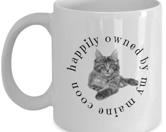 Maine Coon Cat Mug 11 Oz White - Ideal Gift for Maine Coon Cats or Kittens Owners and Lovers