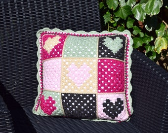 Love Hearts Crochet Cushion Cover Pattern