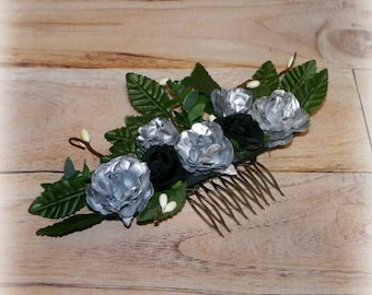 Silver Bridal Hair Comb Victorian Hair Flower Black Vintage Style Rose Gyspy Boho Rustic Wedding Gothic Bohemian Reproduction