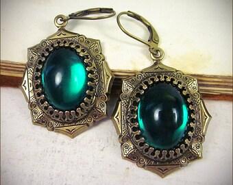Emerald Medieval Earrings, Tudor Earrings, Renaissance Jewelry, Medieval Jewelry, Tudor Costume, MedCol