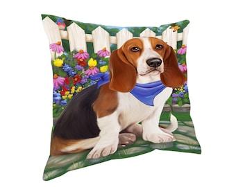Spring Floral Basset Hound Dog Throw Pillow