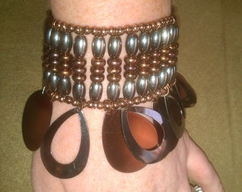 Vintage Analie Copper and Dark Silver Beaded Stretch Bracelet with Metal Dangle Accents