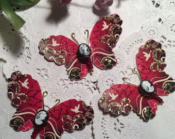 Golden Zen Ruby Red and Cameo Beaded Body Butterflies DarlingArtByValeri Scrapbooking Embellishment Mini Albums Cards Hair odornments